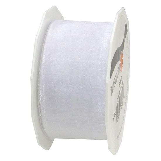 Organzaband-Sheer: 40mm breit / 25m-Rolle, weiß.