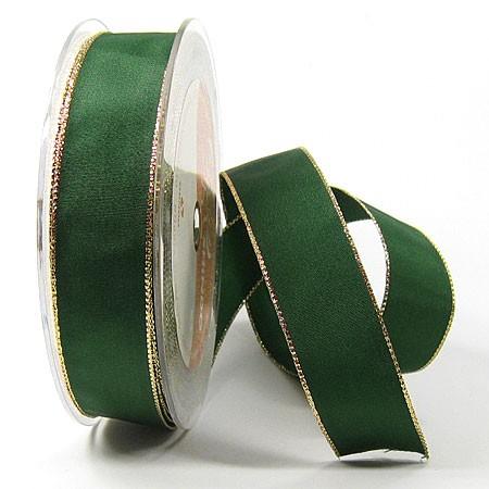 Dekoband Basic: 25mm breit / 25m, grün-gold