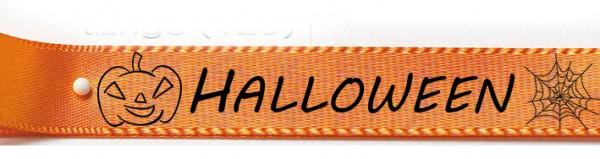 HALLOWEEN 2019 - Doppelsatinband orange mit schwarzem Druck: 15mm breit / 25m-Rolle