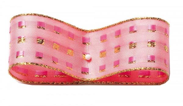 Dekorband-GLAMOUR, rosa-gold: 38mm breit / 25m-Rolle, mit Drahtkante
