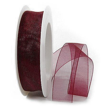 Organzaband: 25mm breit / 25m-Rolle, bordeaux.