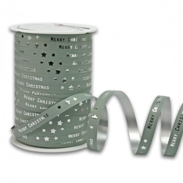 Polyband: MERRY CHRISTMAS: 10mm/100m-Rolle, altgrün