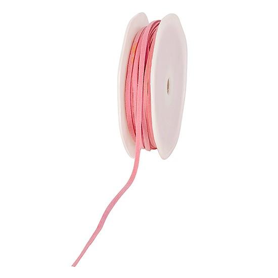 Lederbändchen: 3mm breit / 25m-Rolle, rosa