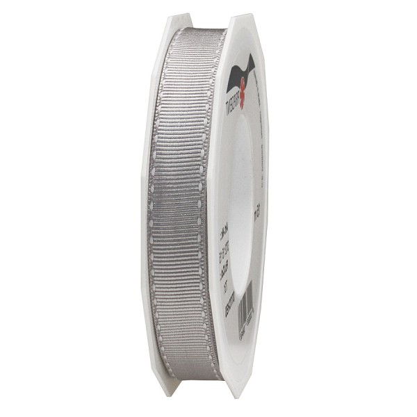 Ripsband-STITCHES, 15mm breit / 15m-Rolle, grau-weiss