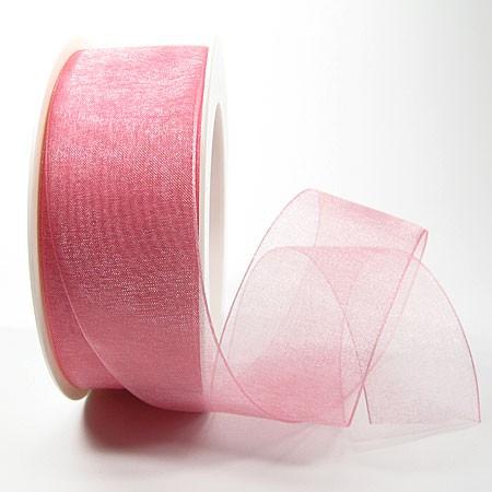 Organzaband mit Drahtkante, 38mm breit / 25m-Rolle - rosa