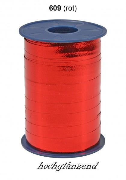 Poly-Ringelband Metallic: 10mm breit / 250m-Rolle, rot