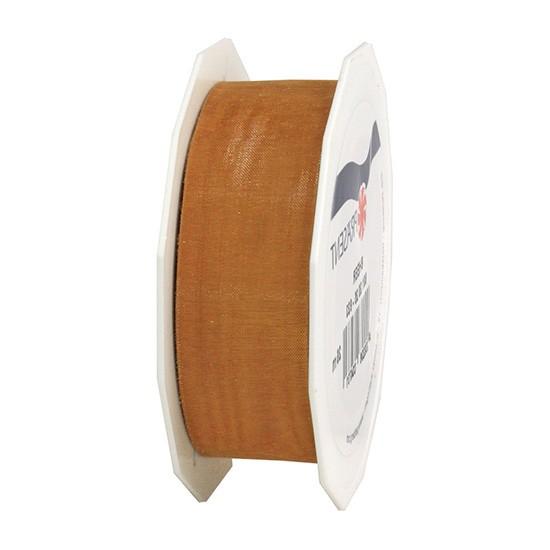 Organzaband-Sheer, terracotta: 25mm breit / 25m-Rolle