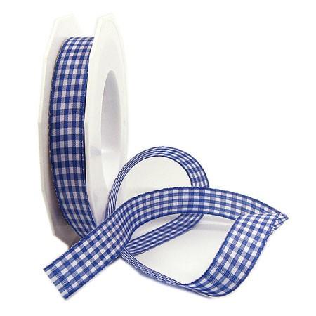 Vichy-Karoband, blau-weiss: 15mm breit / 20m-Rolle