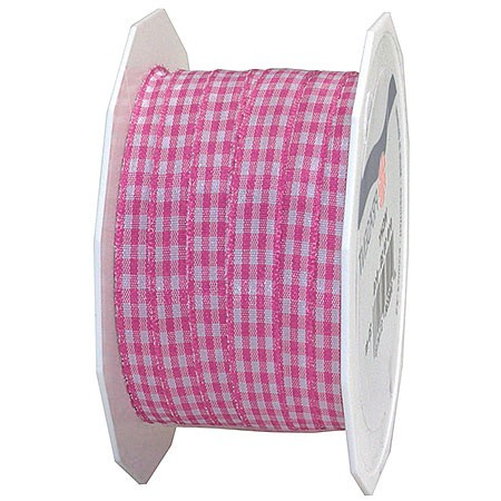 Vichy-Karoband, rosa-weiss: 10mm breit / 20m-Rolle