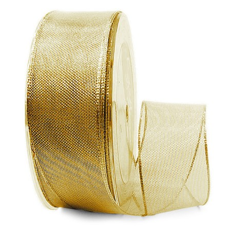 Goldband-TIMPEL, gold: 38mm breit / 25m-Rolle, mit Drahtkante.