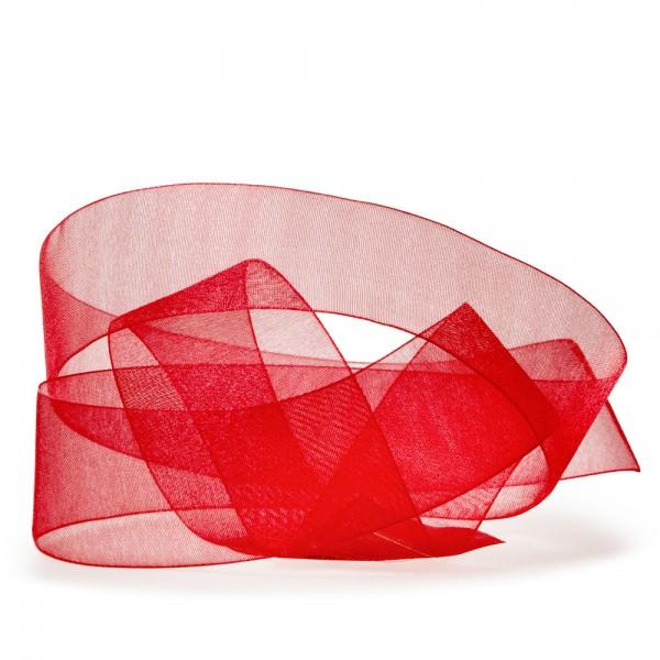 Organzaband-CHIFFON, rot: 40mm breit / 50m-Rolle, mit feiner Webkante.