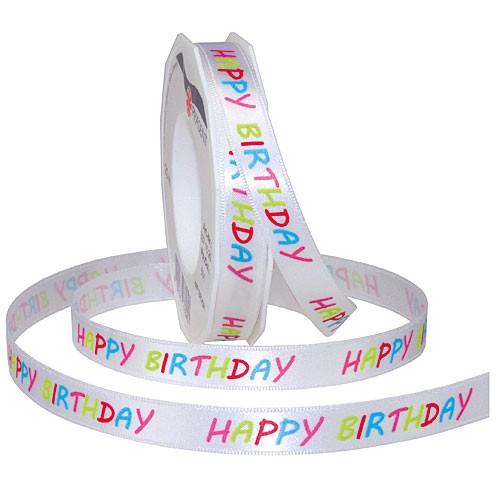 Geburtstagsband: HAPPY BIRTHDAY, 15mm breit / 20m-Rolle, mit feiner Webkante