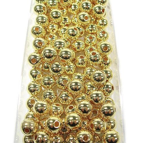 Metallic-Perlen, gold: 10mm Ø - 115 Stück