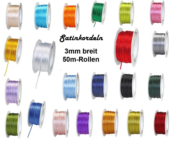 Farbauswahl: Satinkordel-Seidenkordel: 3mm Ø breit / 50m-Rolle, lindgrün
