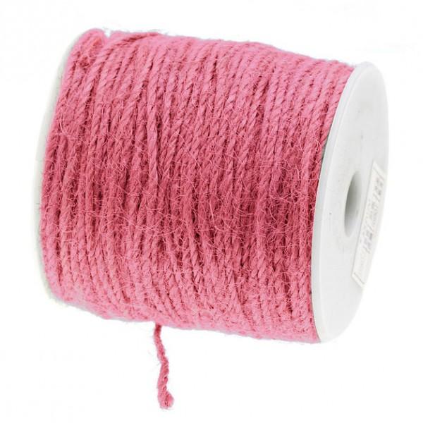 Jutekordel, rosa: 2mm breit / 100m-Rolle.