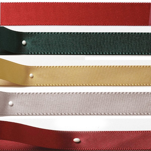 Satinband-Set Weihnachten: 5 Farben je 3m-Länge