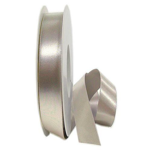 Satinband SINFINITY, taupe: 15mm breit / 25m-Rolle, mit feiner Webkante.