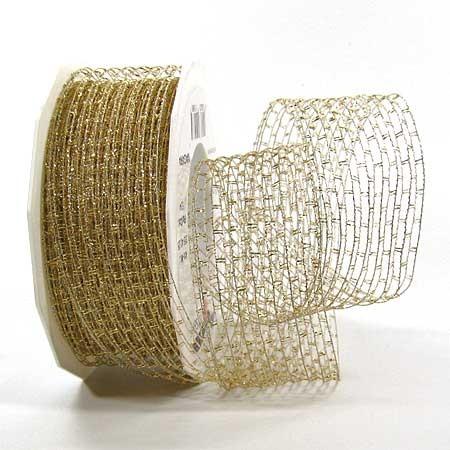 Nigara-Drahtgitterband: 40mm breit / 25m-Rolle,  gold