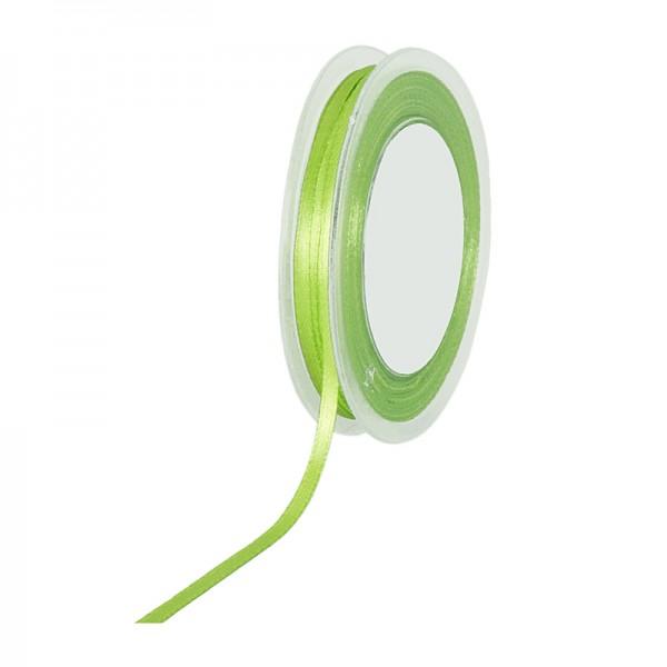 Satinband SIMPEL, lindgrün: 3 mm breit / 50 Meter, mit einfacher schlichter Webkante.
