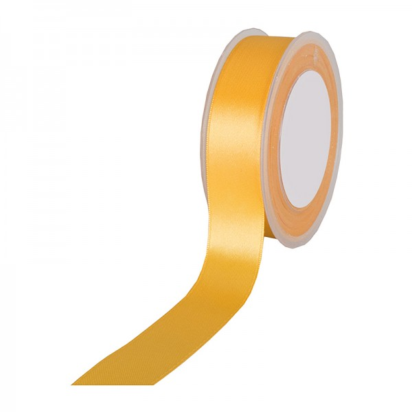 Satinband SIMPEL, gelb: 25 mm breit / 25 Meter, mit einfacher schlichter Webkante.
