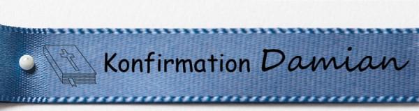 Beispiel Konfirmationsband, blau: 15mm breit / 25m-Rolle