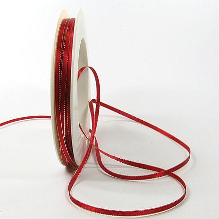 Satinband SINFINITY, rot-gold: 3mm breit / 50m-Rolle, mit feiner Webkante.