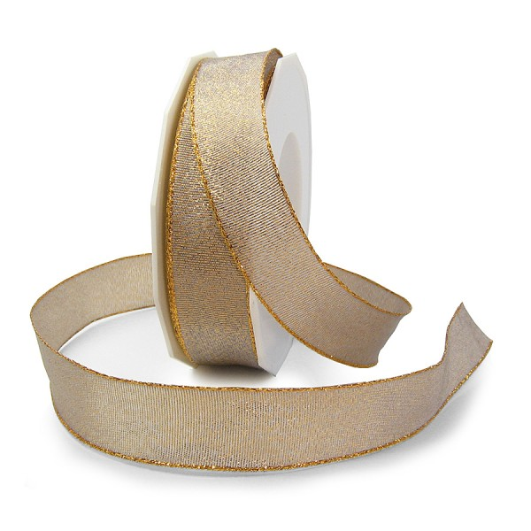 """Weihnachtsband """"DETROIT"""", gold: 25mm breit / 20m-Rolle, mit Drahtkante"""