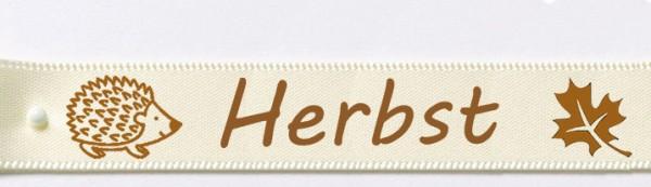 Herbstband aus Doppelsatinband creme - Igel-Herbst-Blatt 15mm breit / 25m-Rolle