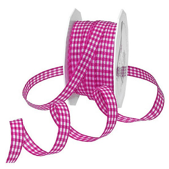 Karoband VICHY: 10mm breit / 20m-Rolle: pink- weiss