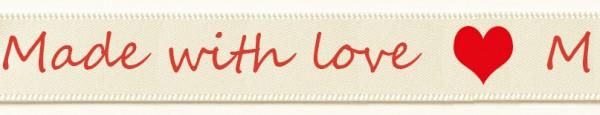 Satinband Made with love- creme: 15mm breit / 25m-Rolle