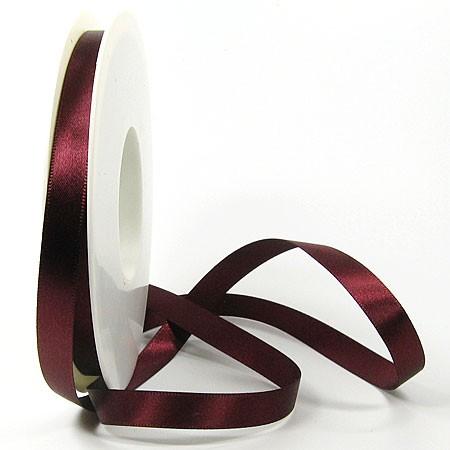 Satinband-SINFINITY, bordeaux: 10mm breit / 25m-Rolle, mit feiner Webkante