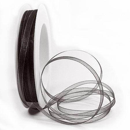 Organzaband: 5mm breit / 50m-Rolle, schwarz