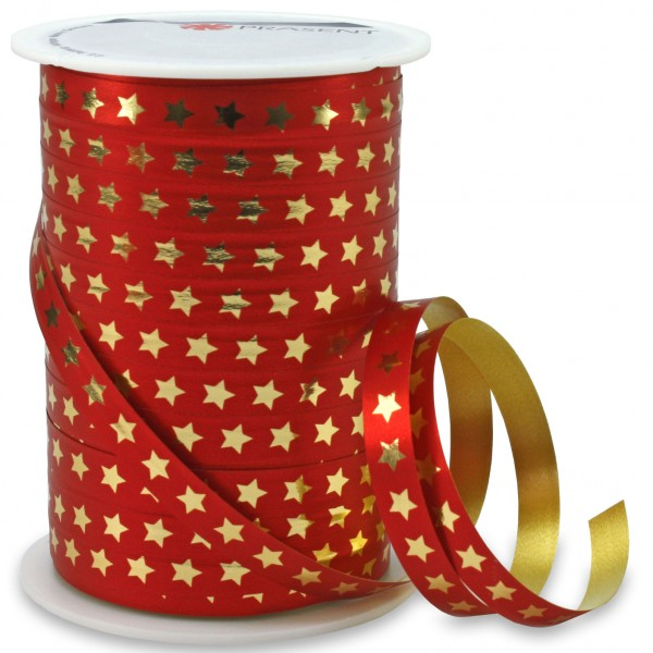 Polyband: CHRISTMAS-STAR: 10mm / 100m-Rolle, rot