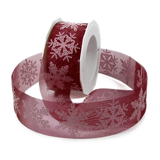 Weihnachtsband FLOCKE: 40mm breit / 20m-Rolle, bordeaux