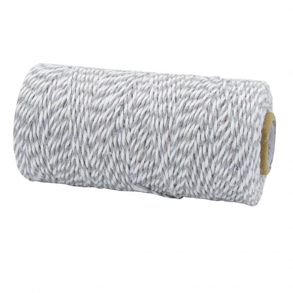 Bäckergarn, hellgrau-weiß: 1,5mm breit / 100m-Rolle