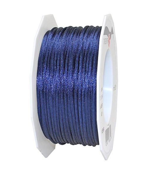 Satinkordel-RHEIN, marineblau: 3 mm breit - 50-Meter-Rolle