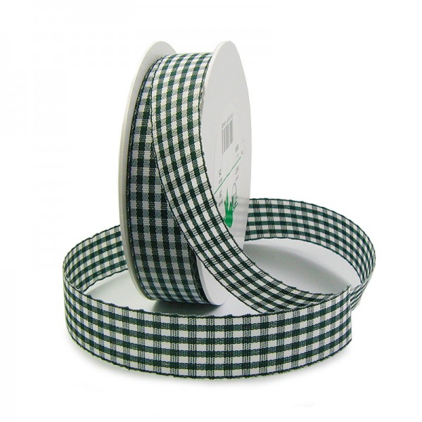 Vichy-Karoband, dunkelgrün-weiss: 25mm breit / 25m-Rolle