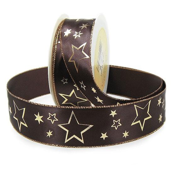 Weihnachtsband-GALAXY: 40mm breit / 25m-Rolle, dunkelbraun-gold