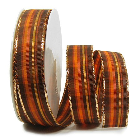 St. James: 25mm breit / 25m-Rolle, terra-braun-gold