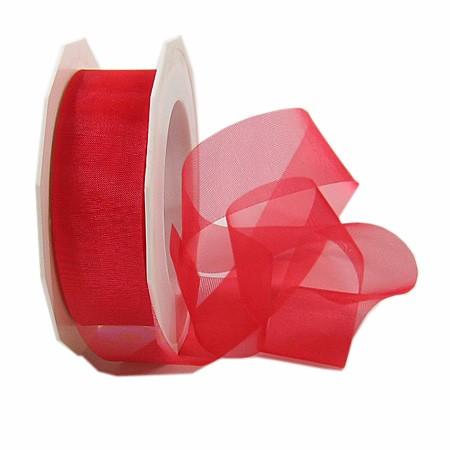 Organzaband-Sheer: 25mm breit / 25m-Rolle, rot.