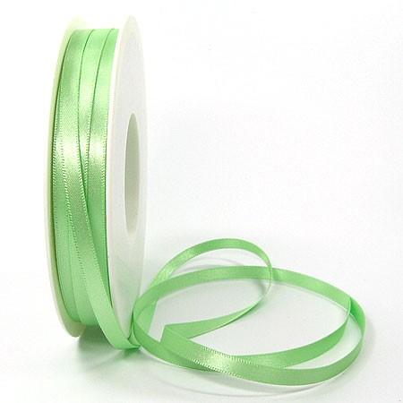 Satinband SINFINITY, hellgün: 6mm breit / 50m-Rolle, mit feiner Webkante.