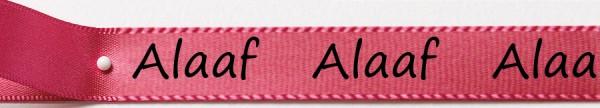 Karnevals-Satinband Alaaf: 15mm breit / 25m-Rolle: pink mit schwarzer Schrift