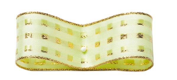 Dekorband-GLAMOUR, hellgrün-gold: 38mm breit / 25m-Rolle, mit Drahtkante