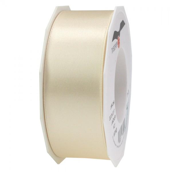 Satinband-PRÄSENT, creme: 40mm breit / 25m-Rolle, mit feiner Webkante.