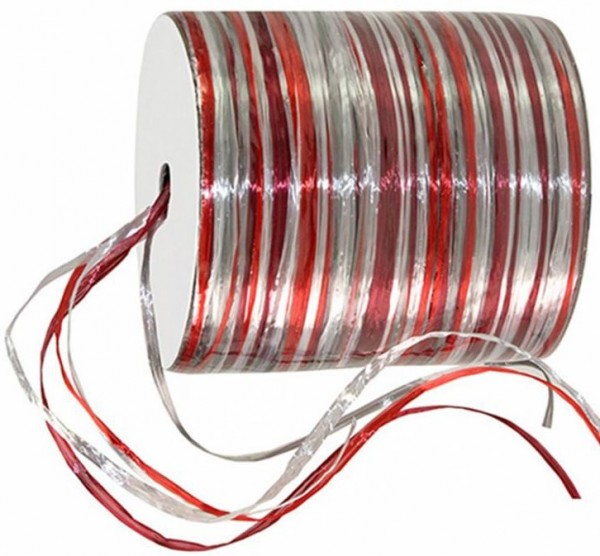Raffia Pearl - Multicolor - Bindebast, rot-weinrot-silber - 50m-Rolle.