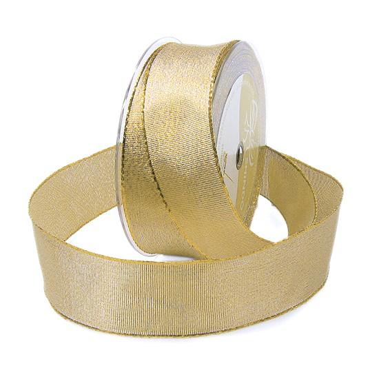 "Goldband ""BROKAT"": 38mm breit / 25m-Rolle, mit Drahtkante."