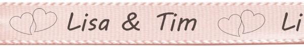 Beispiel Hochzeitsband- rosa: individuell bedruckt: 15mm breit / 25m-Rolle