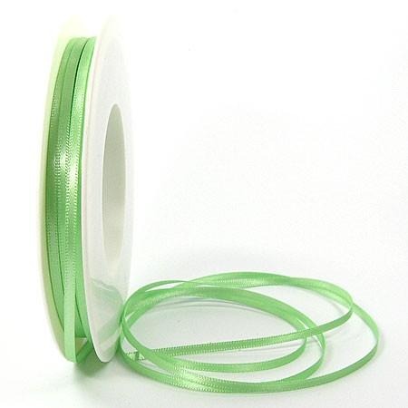Satinband SINFINITY, hellgün: 3mm breit / 50m-Rolle, mit feiner Webkante.