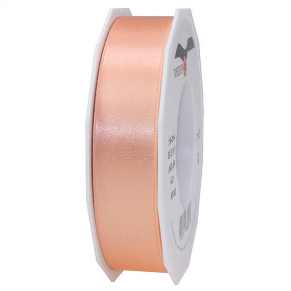 Satinband-PRÄSENT, apricot: 25mm breit / 25m-Rolle, mit feiner Webkante.