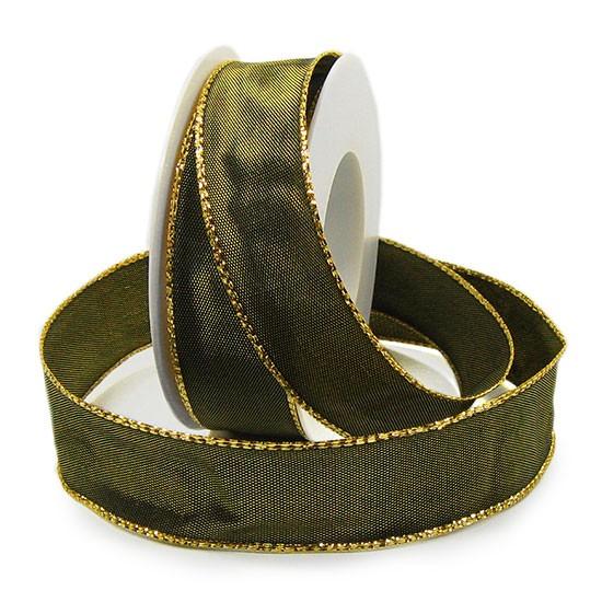 Basic-Gloss, olivgrün-gold: 25mm breit / 10m-Rolle